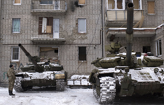 Ukrainian tanks in Avdeyevka, eastern Ukraine