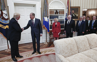 US President Donald Trump of the United States, Russia's Foreign Minister Sergei Lavrov and Russia's Ambassador to the United States Sergei Kislyak