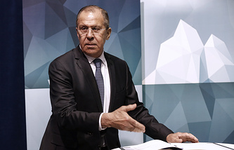 Russian Foreign Minister Sergei Lavrov at a ministerial conference of the Arctic Council
