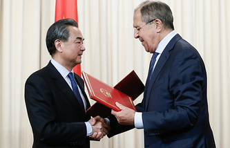 China's Foreign Minister Wang Yi and Russia's Minister of Foreign Affairs Sergei Lavrov
