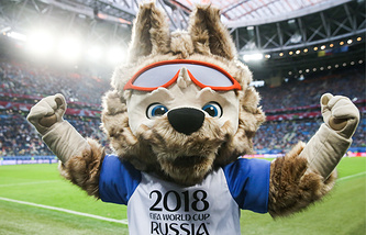 Wolf Zabivaka , the official mascot of the 2018 FIFA World Cup, in the 2017 FIFA Confederations Cup final football match