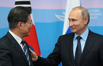 South Korean leader Moon Jae-in and Russian President Vladimir Putin