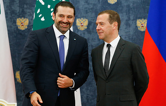 Lebanese and Russian Prime Ministers, Saad Hariri and Dmitry Medvedev