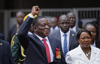 Emmerson Mnangagwa and his wife Auxillia in the capital Harare, Zimbabwe