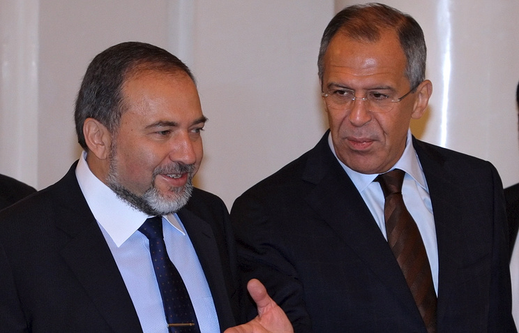 Israeli Foreign Minister Avigdor Lieberman and Russian Foreign Minister Sergei Lavrov
