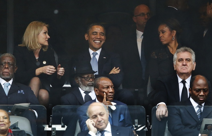 Denmark's PM Helle Thorning-Schmid with US President Barak Obama and his wife Michelle Obama