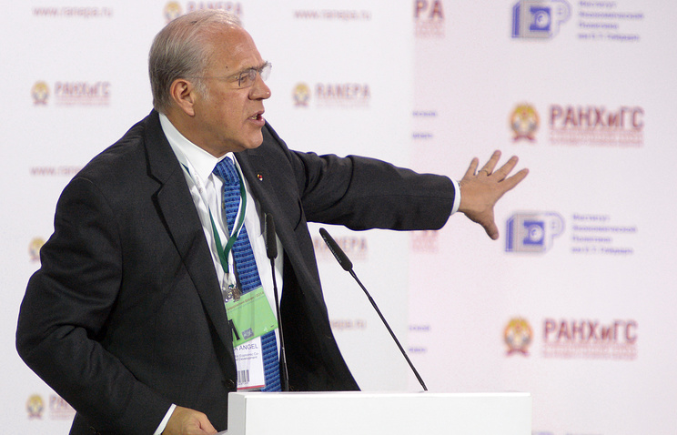 Angel Gurria, secretary general of the Organisation for Economic Co-operation and Development (OECD), speaks at the Gaidar Forum 2014