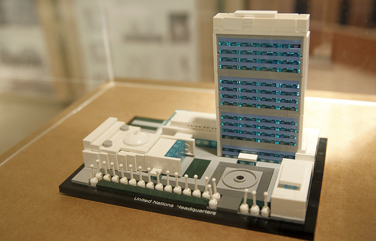 A view of a scale model of the headquarters of the United Nations complex in New York, USA