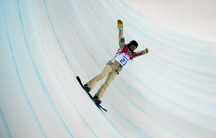 Kaitlyn Farrington of the USA in action during the Women's Snowboard Halfpipe semi-finals