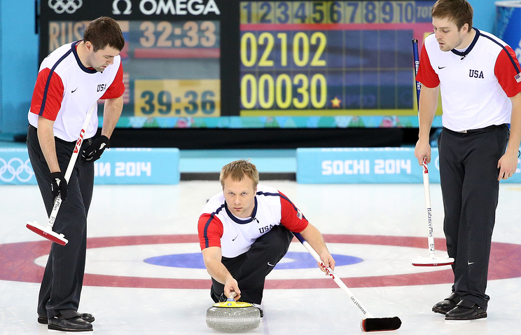 US curling team during their match against Russia
