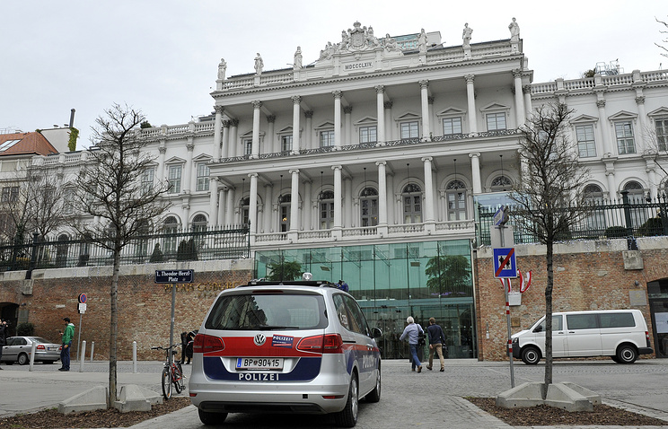 An exterior view of the Palais Coburg where talks between Iran and Britain, China, France, Russia, the United States and Germany continue, in Vienna, Austria