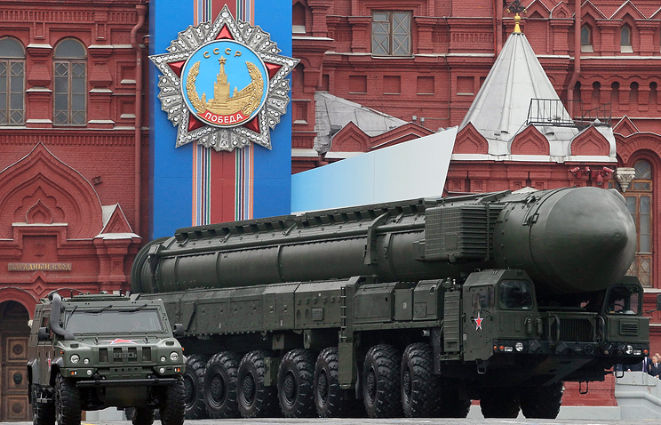 Russian strategic nuclear missile Topol-M moves on the Red square during Victory Day parade in 2013
