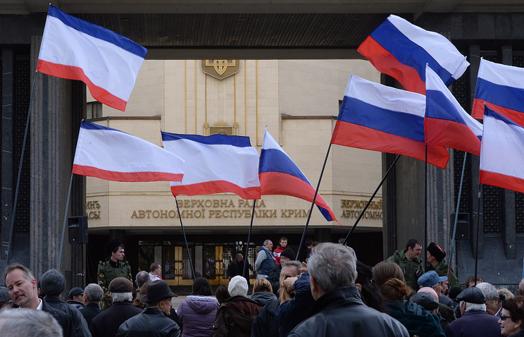 A demonstration in support of the referendum in Crimea