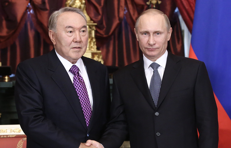 Nursultan Nazarbayev and Vladimir Putin