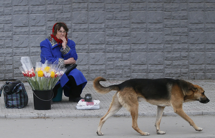 A woman sells flowers in the center of Crimea's Simferopol