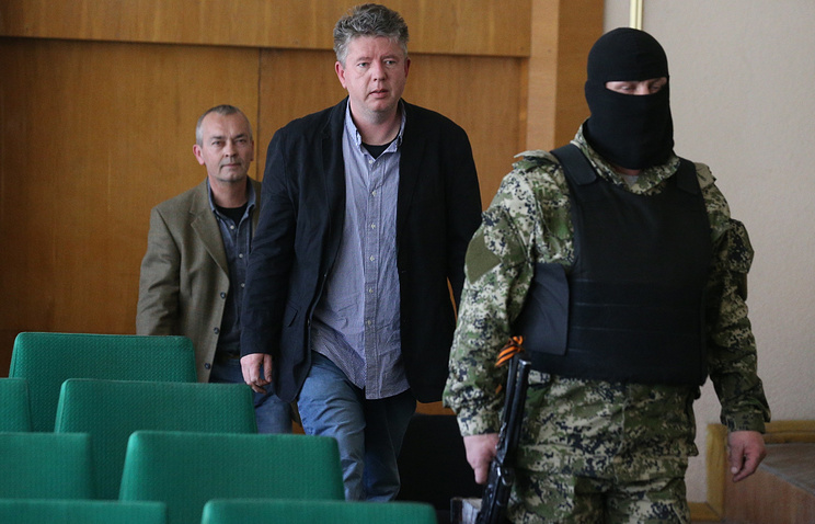 Members of the OSCE observer mission captured by self-defence forces on Apr. 27 2014