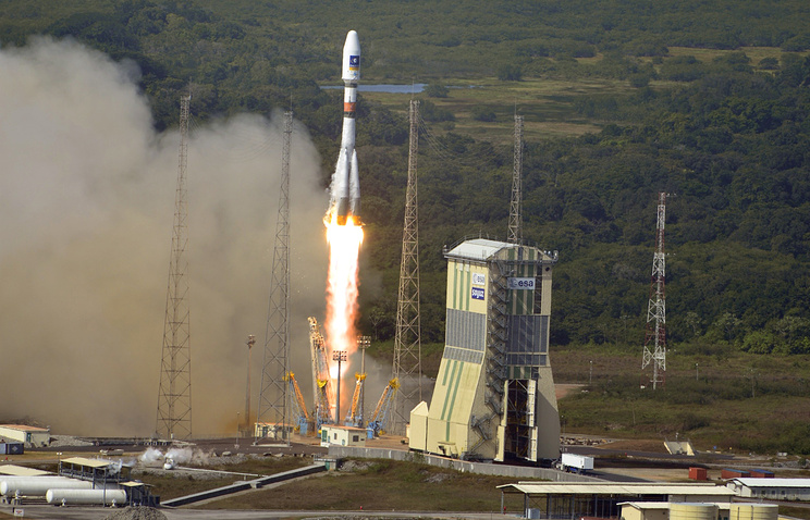 Rocket launch at the Kourou spaceport in French Guiana