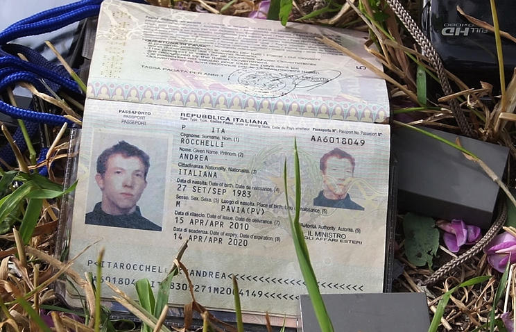 The passport of Italian photojournalist Andrea Rocchelli