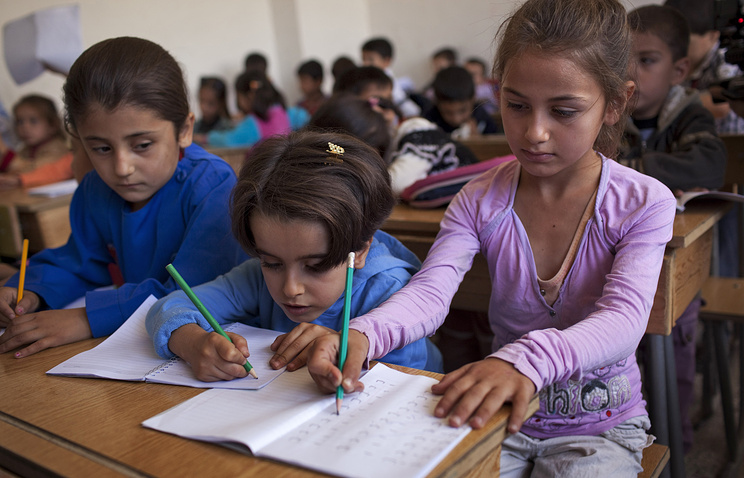 School children in Syria's Aleppo
