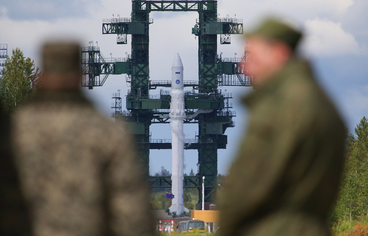 Angara space rocket installed on launch pad