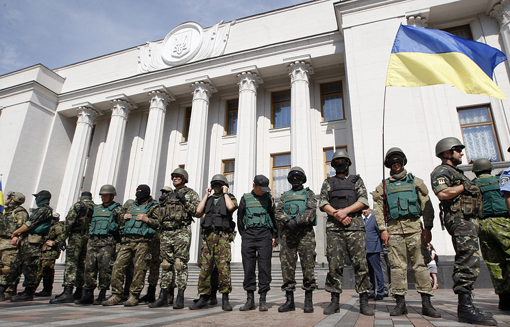 Ukrainian parliament guarded during session on July 3