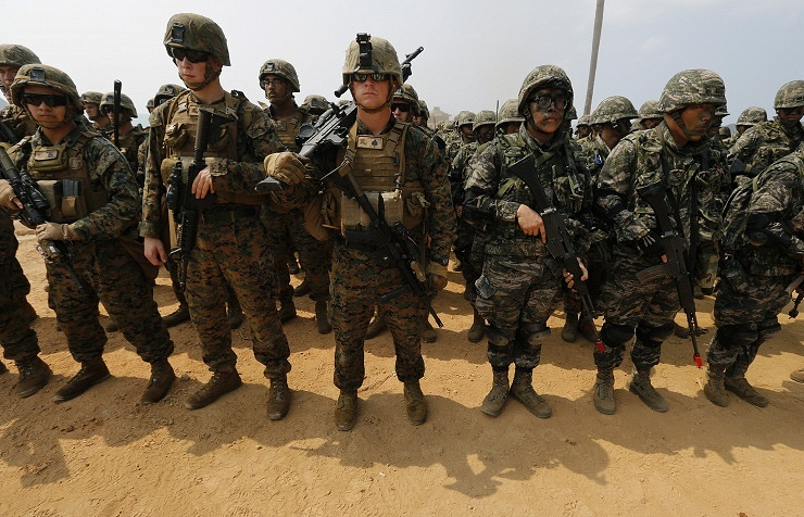 American and South Korean servicemen at military drills in February 2014