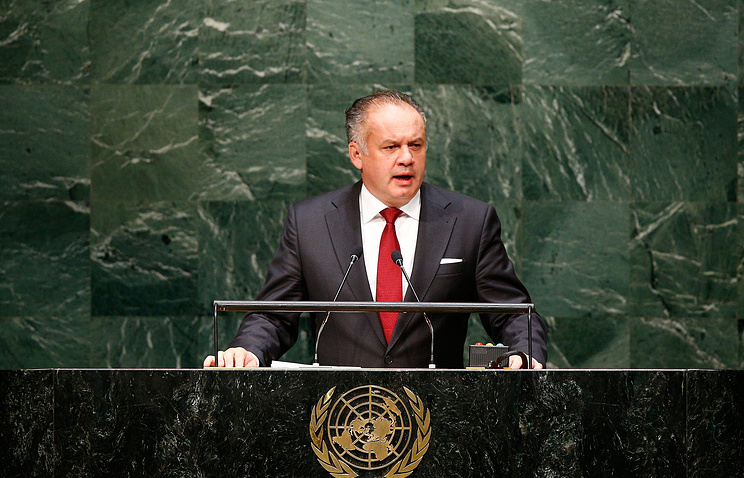 Slovakia's President Anrej Kiska addresses the 69th Session of the UN General Assembly