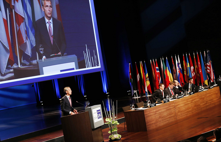 Secretary General of NATO Jens Stoltenberg speaks during the NATO Parliamentary Assembly session