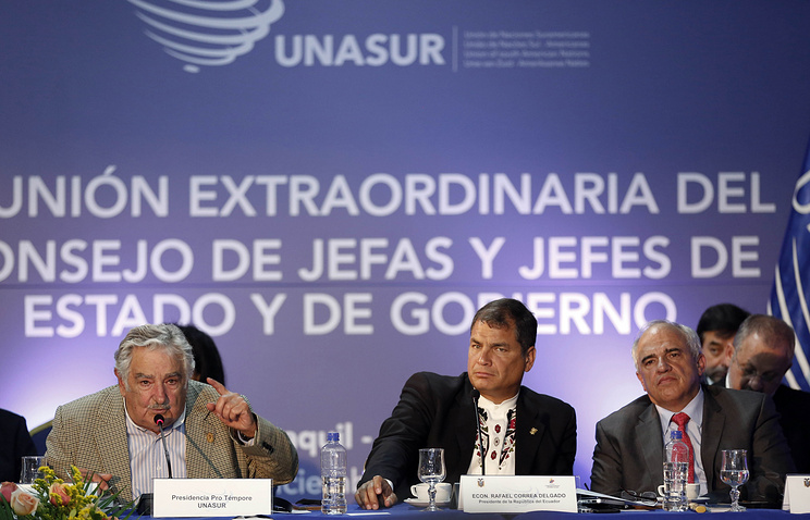 Jose Mujica, Rafael Correa and Ernesto Samper