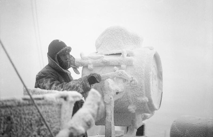 On the cruiser HMS Sheffield while helping to escort an Arctic convoy to Russia (archive)