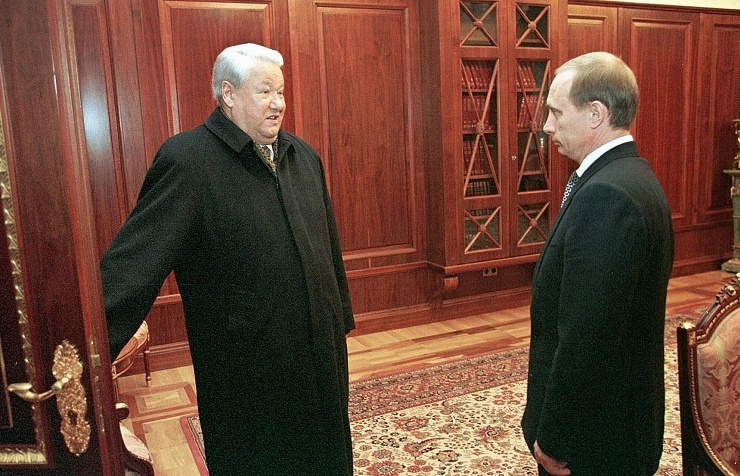 Former Russian president Boris Yeltsin and president Vladimir Putin on December 31, 1999