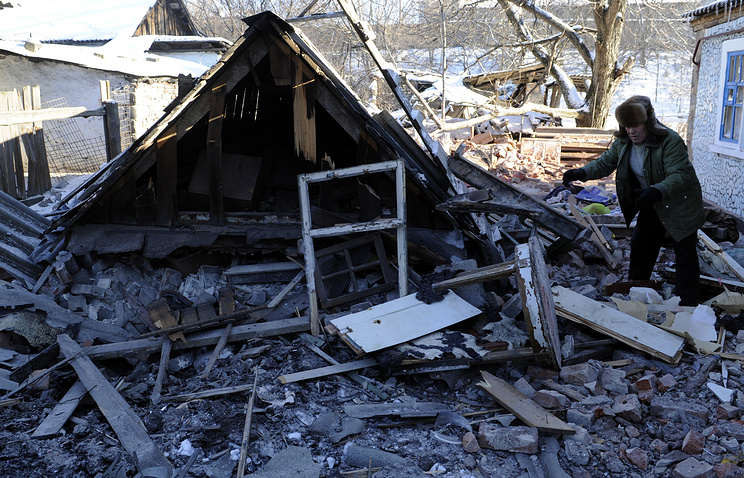 Destroyed house in the aftermath of a shelling attack in Donetsk