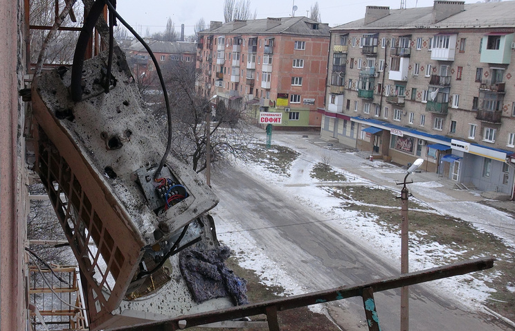 House damaged as a result of shelling of Gorlovka in the Donetsk region