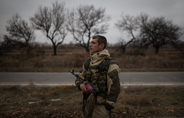 At a military checkpoint in Luhansk region