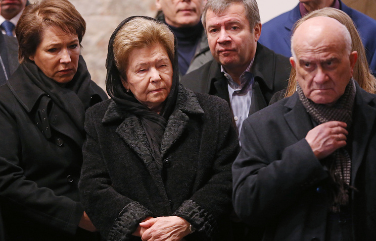 Naina Yeltsina, the widow of Russia's first president Boris Yeltsin (second left)