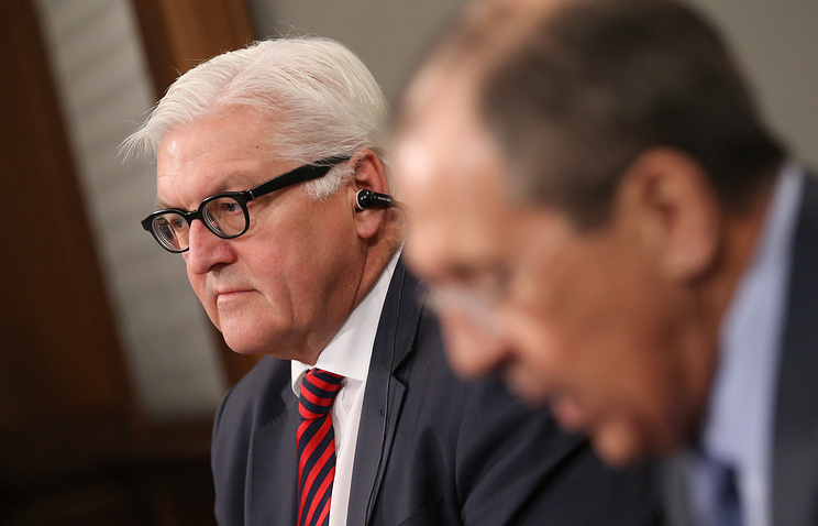 The foreign ministers of Germany and Russia, Frank-Walter Steinmeier and Sergey Lavrov