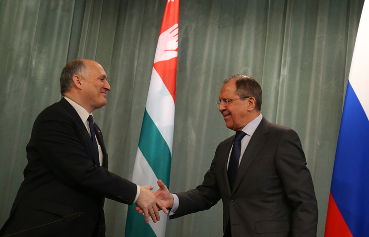 Abkhazian Foreign Minister Vyacheslav Chirikba and Russian Foreign Minister Sergey Lavrov