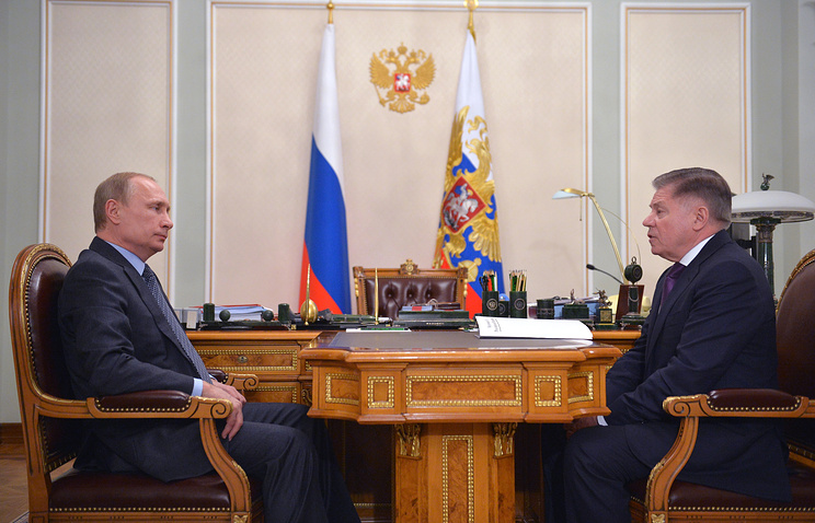 Russia's President Vladimir Putin and head of the Supreme Court Vyacheslav Lebedev