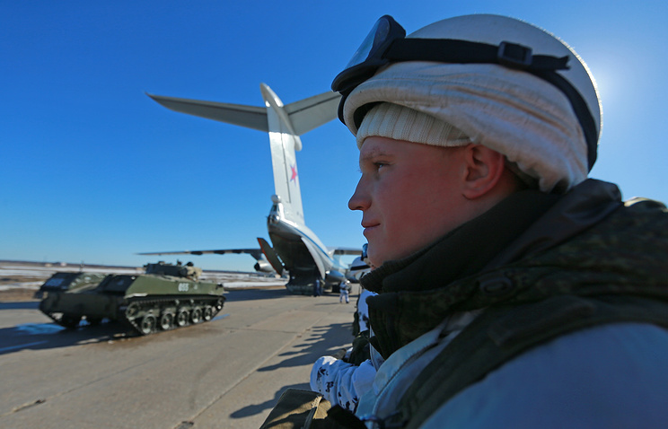 Airborne troops during an alert exercise by the Russian Air Force