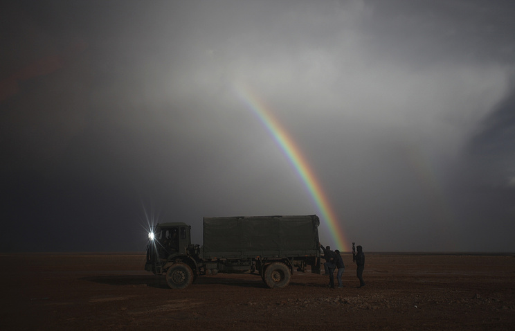Military vehicle seen on the border between Syria and Jordan