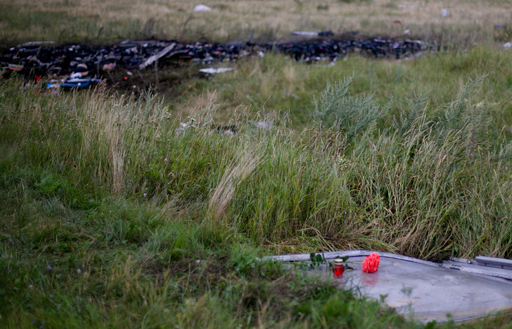At the crash site of a Malaysia Airlines Boeing 777 flight