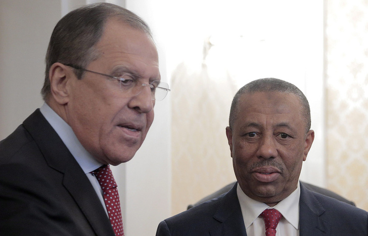 Russian Foreign Minister Sergey Lavrov and Libyan Prime Minister Abdullah al-Thani