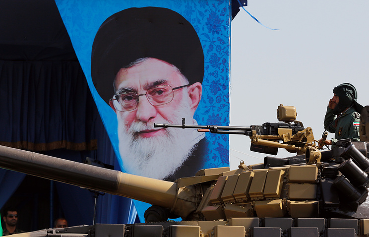 Poster of the Iranian supreme leader seen during a military parade in Iran