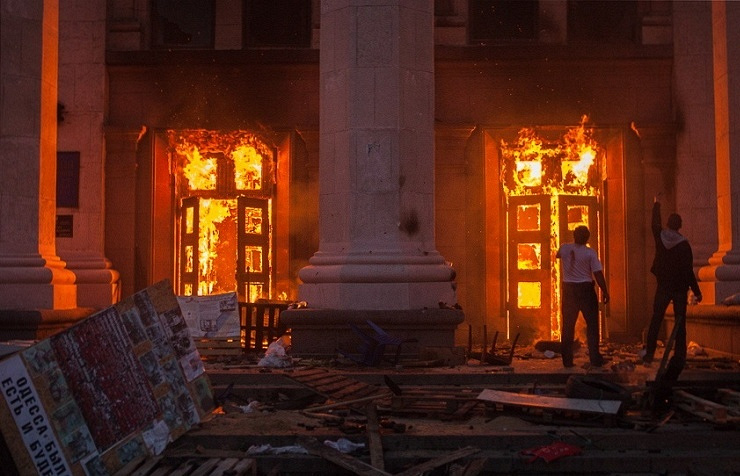 House of Trade Unions on fire, Odessa, May 2, 2014