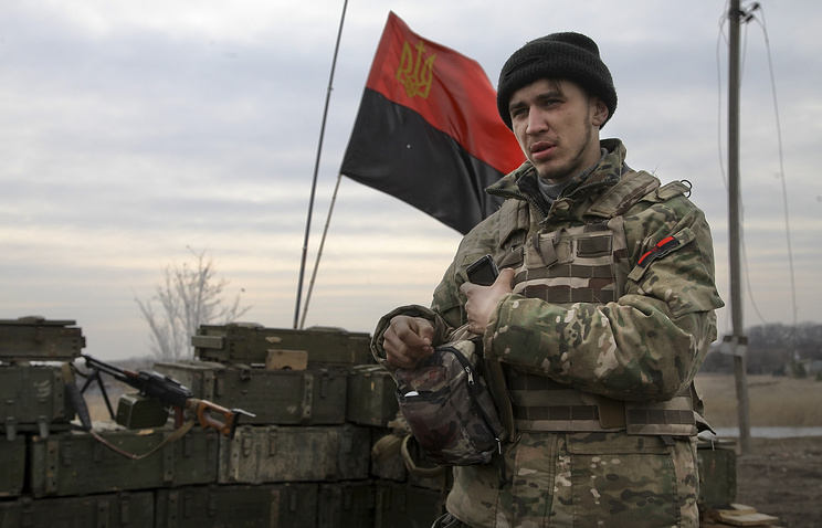 Right Sector fighter seen in east Ukraine's Donetsk region (archive)