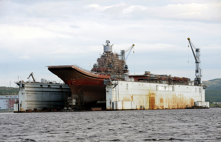 The Admiral Kuznetsov undergoing repairs in 2010 (archive)