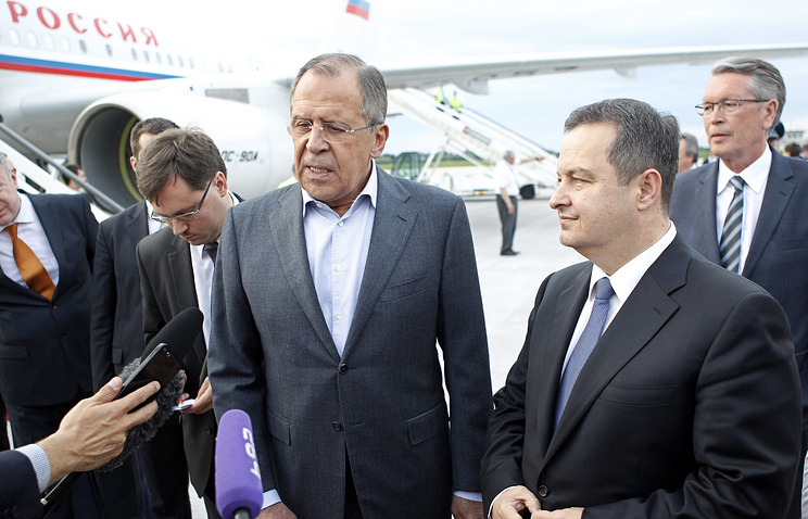 Sergey Lavrov on his arrival to Serbia
