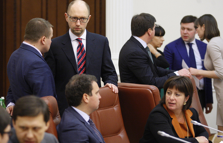 Arseniy Yatsenyuk seen at the first cabinet session
