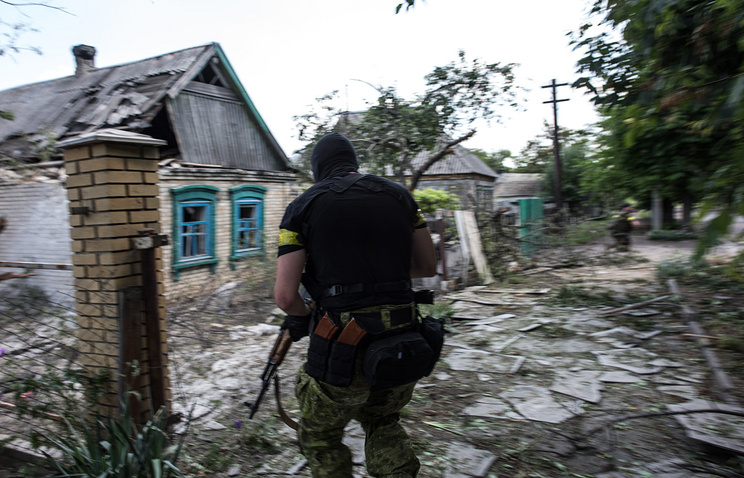 A Ukrainian serviceman in Maryinka