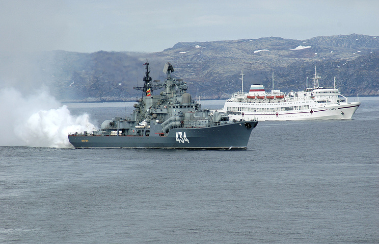 Russian Northern Fleet's Admiral Ushakov destroyer (archive)